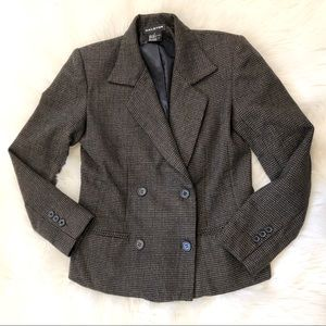 Halston Brown Plaid Wool Double Breasted Blazer